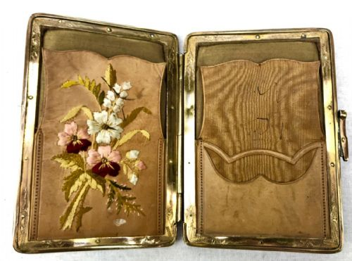 Ladies Edwardian Leather Purse / Silk Lined Embroidered Card Case / Brass